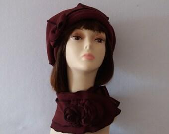 "Beret + fleece scarf, handmade creation and unque ""Lorène"""