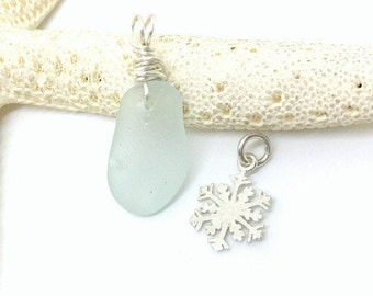 Seaglass Necklace, Snowflake Necklace, Sterling Beach Necklace, Lake Erie Beach Glass Jewelry, Sea Glass Jewelry, Seaglass,  Sea Glass Gift