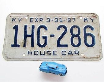 Vintage Kentucky 1987 License Plate - House Car.  80's plate. #LP5