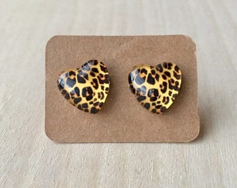 Cheetah Heart Earrings//Heart Earrings//Cheetah Earring Studs//Heart Earring Studs//Animal Earrings//Animal Jewelry//12 mm