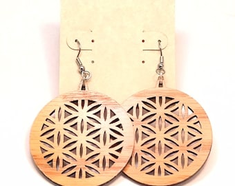 Flower of Life Wooden Hook Earrings Large - Made of Sustainable Oak, Walnut, or Red Stained Maple Wood Dangle Earrings