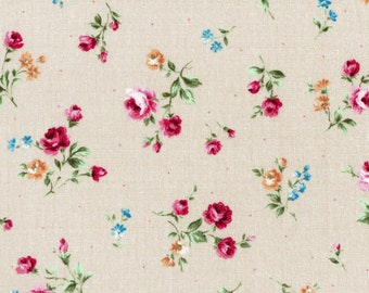 PREORDER! Lecien Flower Fields   Beige Rose Toss   Yardage   Quilt Fabric   By the Yard   Cut to Size   sku 31730-11