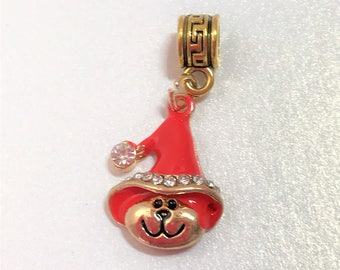 Christmas Hat Teddy Charm Pendant European Bracelet Bead Large Hole Bead Make Your Own Jewelry Making LynnsGemSupplies