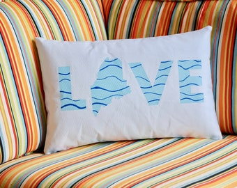 """Maine """"LOVE"""" Hand Painted Pillow"""
