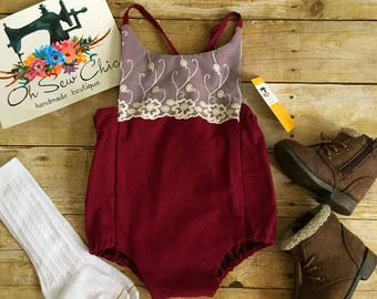FREE SHIPPING - Red Lace Bubble Romper, Vintage Lace Romper, Christmas Romper, Newborn Photo Romper, Christmas Baby Bodysuit