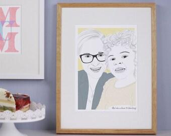 personalisiertes Portrait Mutter & Kind als download