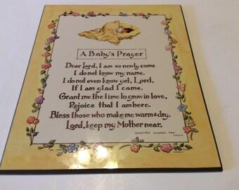 Vintage Baby's Prayer Wall Plaque