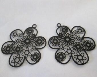 Black flower metal 29 mm 2 prints