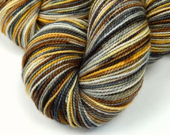 Hand Dyed Yarn, Sock Weight Superwash Merino Wool Yarn - Riverbed Variation - Indie Fingering Knitting Yarn, Sock Yarn, Grey Gray Brown Gold