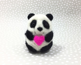 needle felted panda, miniature wool panda, needle felt animals, needlefelt panda doll with heart, OOAK