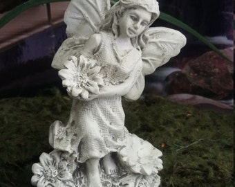 Fairy Garden Miniature Fairy holding a Flower, Weathered White Alabaster Look Fairy, Resin Fairy, Fairy Statue, Antiqued Fairy Statue