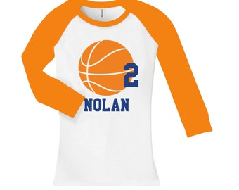 Personalized Basketball Birthday Shirt - cropped/long sleeve raglan shirt - any age and name - pick your colors!