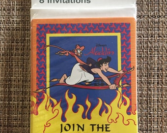 Vintage Disney Aladdin Party Invitations with Envelopes 8 pack 1990s birthday party supplies