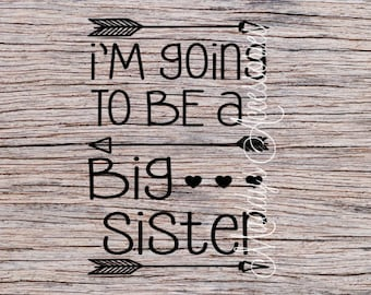 Iron on decal - I'm Going To Be A Big Sister - baby / child clothing accessory