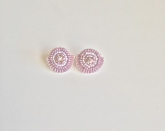 Purple Bead Embroidered Studs
