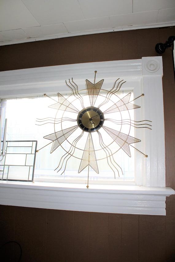 "Mid Century Atomic Starburst Clock Welby 31"" Vintage 1950s Key Wind"