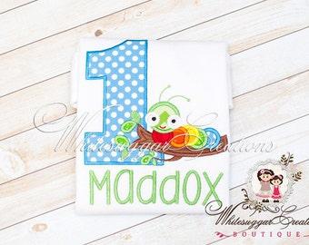 Boy 1st Birthday Shirt - Caterpillar Birthday Shirt - Bugs Themed Custom Shirt - Baby Boy First Birthday Shirt - First Birthday Outfit
