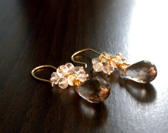 Hand fabricated 18k yellow gold smokey quartz and white topaz.  Ready To Ship.