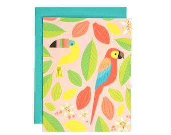 Tropical Birds Note Card | Illustrated Greeting Card | Folk and Fauna Co.