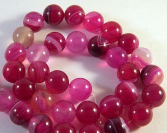 5 2 agate beads 10 mm shades - purple AG8