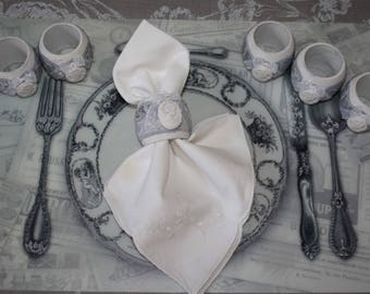 Set of 6 napkin rings shabby chic