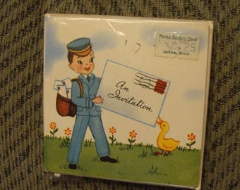 Cute Vintage NIP Party Invitations 12 with envelopes Mailman