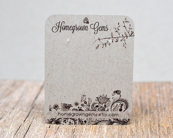 Personalized Earring Display Cards - Drawn Bird and Flower Designs - Jewelry Display Cards - Packaging - Jewelry tags DS040