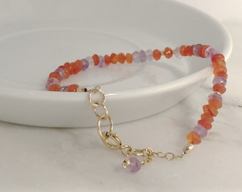 bracelet gemstone carnelian amethyst 14k gold fill red orange purple sunset layering genuine february birthstone simple