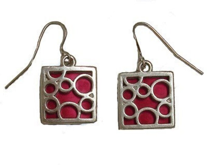 Sterling Silver Earrings in Square Bubbles in Red
