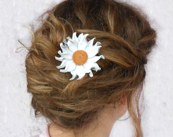 Wedding Hair Accessory, White Leather Flowers, Wedding Hair Flowers, Bridal hair clip, Wedding Hair Piece, Bridesmaids Hair, bridal hair