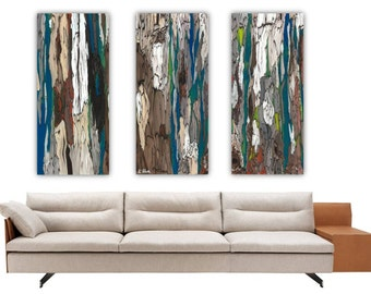 Wall Art Triptych Extra Large Canvas Prints Trees Blue Teal Abstract Artwork  Oversized Set Rolled Bedroom