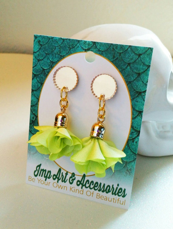 LIME GREEN ROSETTES-14mm Post/Stud Nude Rosette Tassel in Gold Tone Setting Gold Mirror  Laser Cut Acrylic Earrings