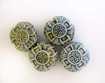 4 Raku Celtic Cross Beads