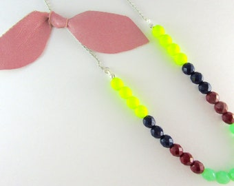 Colorful Beaded Strand Colorblock Necklace in Neon Yellow, Navy, Dark Red, & Mint; Silver-Chain, Pink Leather-Bow Statement Necklace