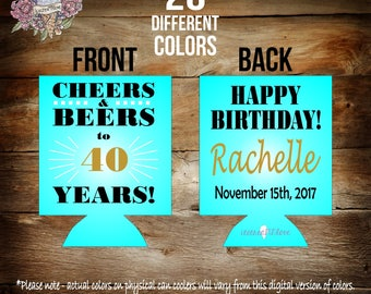 custom 40th birthday party can coolers / birthday party favors / milestone birthday party can coolers / milestone birthday favors /