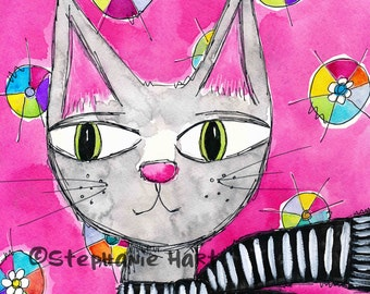 A Study in Pink by Stephanie Hart, Archival print Watercolor Illustration 8x10, Cat Art