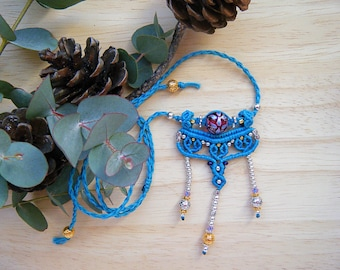 Turquoise Jewelry // Women's Necklace // Macrame Long Necklace // Bohemian Jewelry // Talisman Necklace // Heart Necklace // Gold Necklace