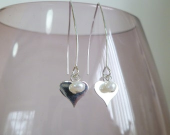 Fresh Water Pearl and Sterling Silver Heart Earrings UK made