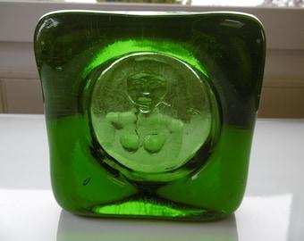 "Kosta Boda- Swedish green glass bowl with ""Eve""figure- 1960s by Erik Höglund"