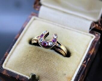 Circa. 1860s Ruby & Diamond Horseshoe Ring