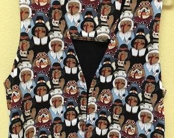 "Handmade Thanksgiving 3-Button Vest/""TURKEYS Dressed as PILGRIMS & INDIANS"""