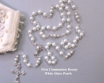 Pearl Rosary, First Communion Rosary, first Communion gifts, girls rosary