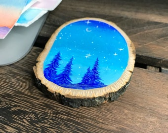Large Handpainted Blue Forest Wood Slice | Mountain Painting | Nature Art | Painted Wood Slice
