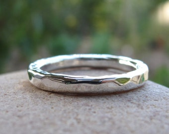 Chunky hammered silver stacking ring, sterling silver statement rings