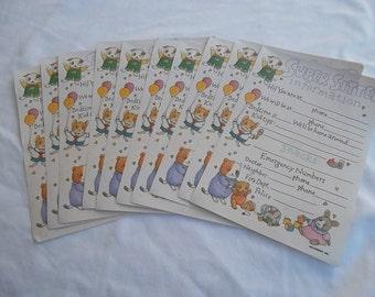 Current, Inc.  Vintge 1993, Super Sitter Information Sheets, Set of 10