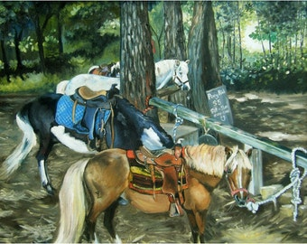 Pony Ride Animal Painting - 14x11in Giclee Print