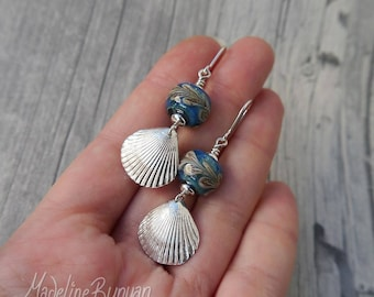 Silver Seashell and lampwork glass drop earrings Sterling Silver, blue, Green, Sand, Beach, Sea, Ocean