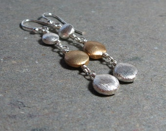 Silver and Gold Earrings Long Mixed Metals Brushed Bead Drops Gift for Her