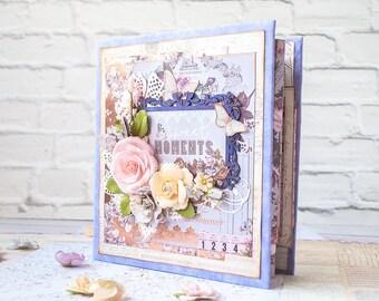 Lavender photo album - Weeding - Anniversary - Scrapbook - Mini album - Gift for her - Interactive album - Memory book - Travel album