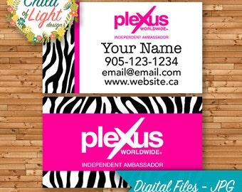 Plexus Slim - Independent Ambassador Cards - Custom Business Card - Pink Zebra Print - Personalized Cards - Print Your Own